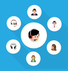 flat call set of service earphone secretary and vector image vector image