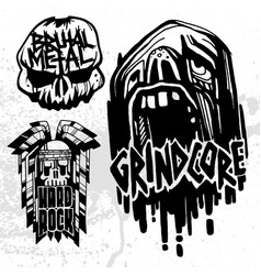 heavy rock music badge vintage labels with vector image