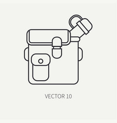 line flat hunt and camping icon jar bottle vector image vector image