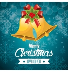 postcard merry christmas and happy new year bell vector image vector image