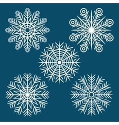 graphic winter set of snowflakes vector image vector image