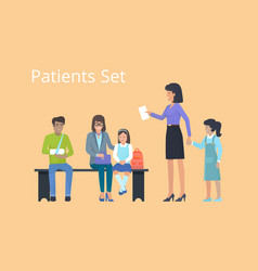 patient set of icons on orange vector image vector image