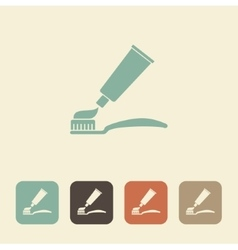 Toothpaste and toothbrush icon vector image vector image