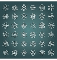 White Hand Drawn Winter Snow Flakes Doodles vector image vector image