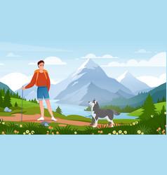 active adventure summer tourism cartoon happy vector image
