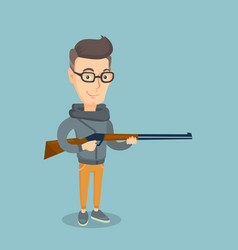 adult hunter holding a hunting rifle vector image