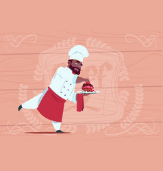 african american chef cook holding dessert dish vector image vector image
