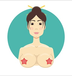 Asian nude girl vector image