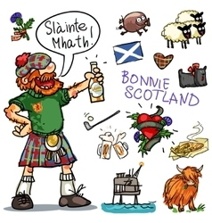Bonnie Scotland cartoon clipart collection vector