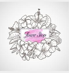 bouquet hibiscus and plumeria flowers vector image