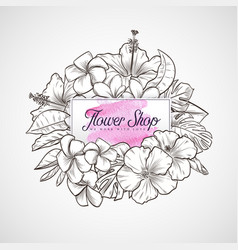 bouquet of hibiscus and plumeria flowers vector image