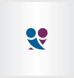 boy and girl in love hugging logo symbol simple vector image
