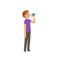 Boy drinking water from plastic bottle vector