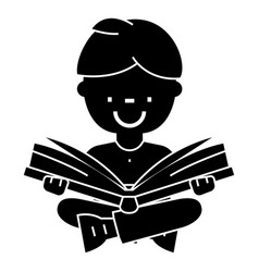 boy reading book open book sitting icon vector image