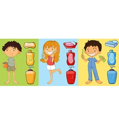Boys and girl brushing teeth vector image