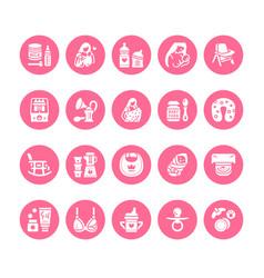 Breastfeeding baby food flat glyph icons vector
