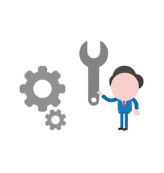 businessman character holding spanner to repair vector image