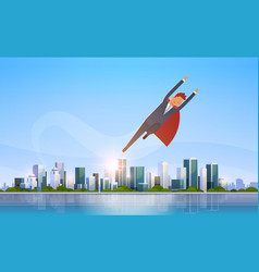 businessman wearing red super hero cape success vector image
