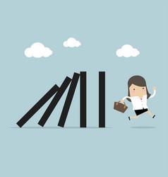 Businesswoman run away domino effect vector