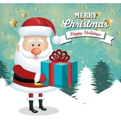 card santa claus holding gift white landscape vector image