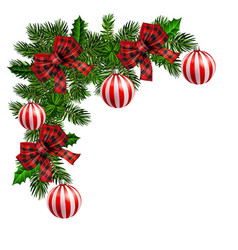 Christmas corner decoration with christmas holly vector