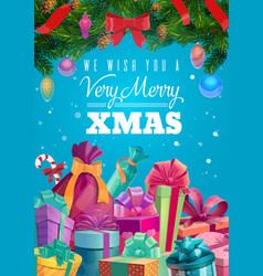 christmas gifts with xmas tree and present boxes vector image