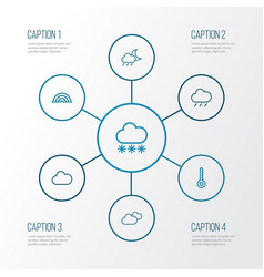 Climate outline icons set collection of cloud vector