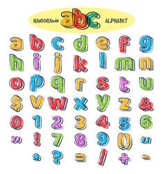 colorful doodle alphabet vector image