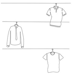 Continuous line drawing mens clothing set vector