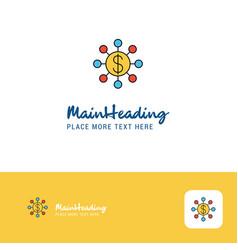 creative dollar network logo design flat color vector image