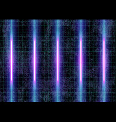 Cyberspace futuristic neon lights and grid lines vector