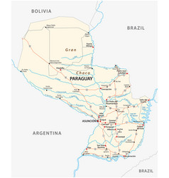 Detailed republic of paraguay road map vector