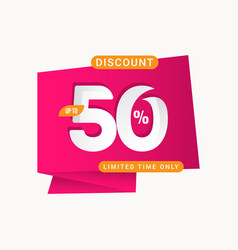 Discount up to 50 off limited time only label vector