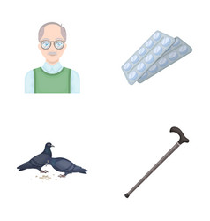 Elderly men tablets pigeons walking caneold vector