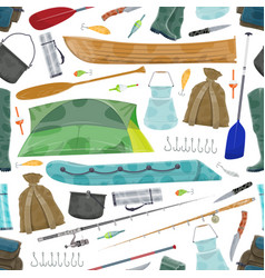 Fisherman fishing equipment pattern vector