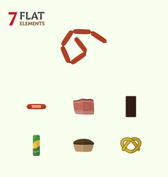 Flat icon food set of bratwurst kielbasa vector