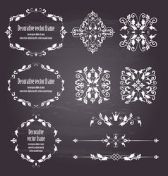Floral design elements set ornamental vintage vector