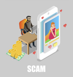 Girl chatting with scammer flat isometric vector