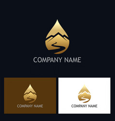 Gold water drop mountain logo vector