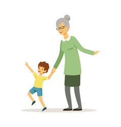 grandmother and grandson happy family walking vector image