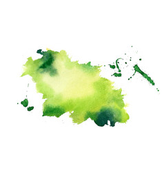 green watercolor splash stain texture background vector image