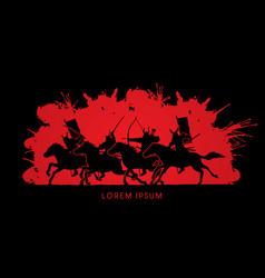 group of samurai warriors riding horses vector image