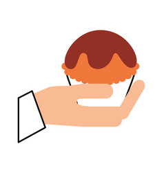 Hand human with cup cake sweet icon vector