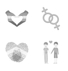hands feminism fingerprints gay set collection vector image