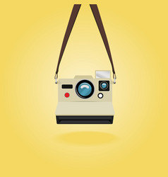 Hanging retro instant camera vector