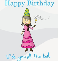 Happy birthday magic postcard vector