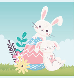 happy easter day rabbits egg flowers leaves vector image