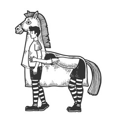 Horse costume in theater sketch engraving vector