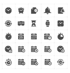 icon set - time and schedule filled icon style vector image