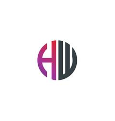 initial letter hw creative design logo vector image